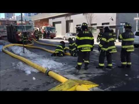 PART 3 OF 3 OF FDNY ON SCENE BATTLING MASSIVE 7 ALARM WAREHOUSE FIRE IN WILLIAMSBURG, BROOKLYN, NYC.