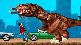 Тиранозавр Рекс в Нью Йорке.Tyrannosaurus Rex in new York.Динозавры мультфильм игра.the cartoon game