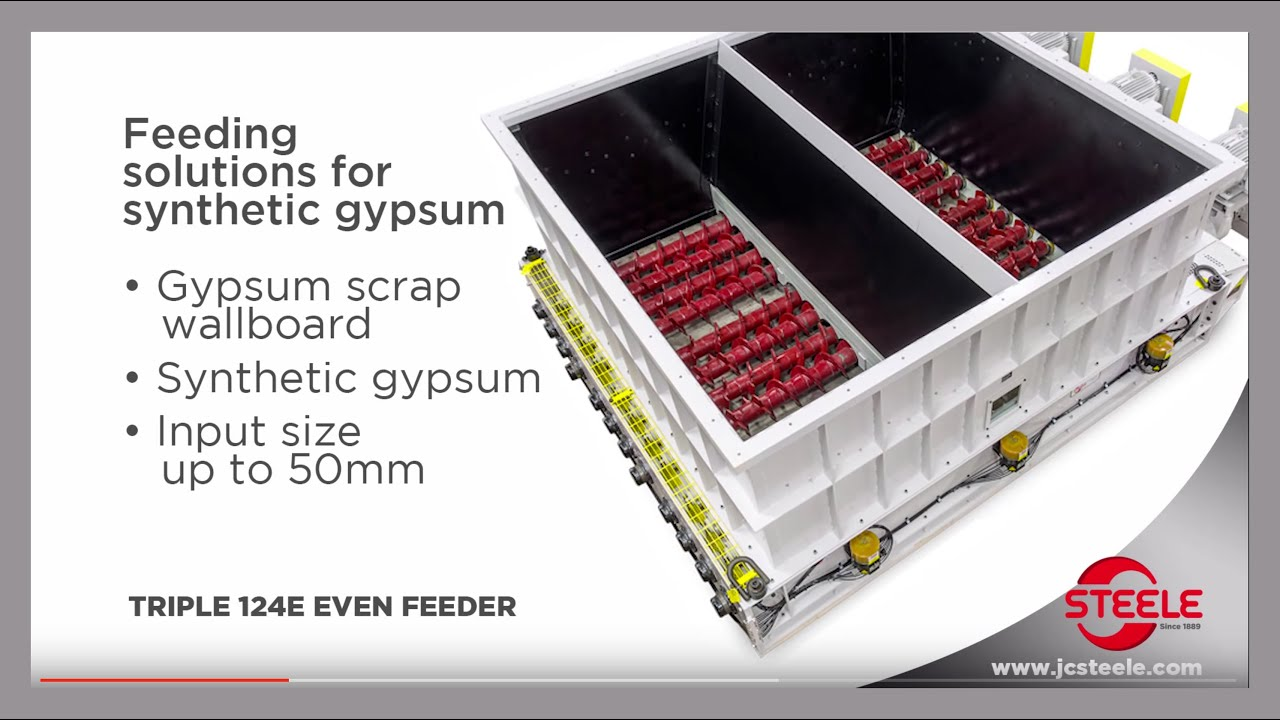 Gypsum - Even Feeders for gypsum and scrap wallboard - J C