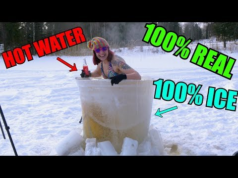 WORLDS FIRST ICE HOT TUB! ON FROZEN LAKE!