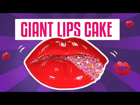 How To Make A GIANT LIPS CAKE For Valentine's Day w/ GLAM Sprinkles   Yolanda Gampp   How To Cake It