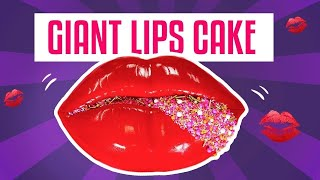 How To Make A GIANT LIPS CAKE For Valentine's Day w/ GLAM Sprinkles | Yolanda Gampp | How To Cake It