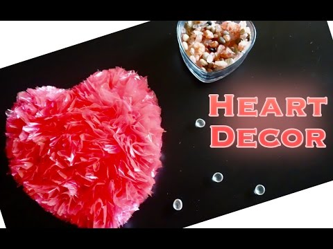 DIY - Heart Decor Wall Hanging From Recycled Plastic Bags - Valentine's Special - Best Out of Waste