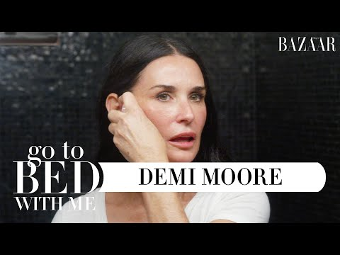Demi Moore's Anti-Aging Nighttime Skincare Routine | Go To Bed With Me | Harper's BAZAAR