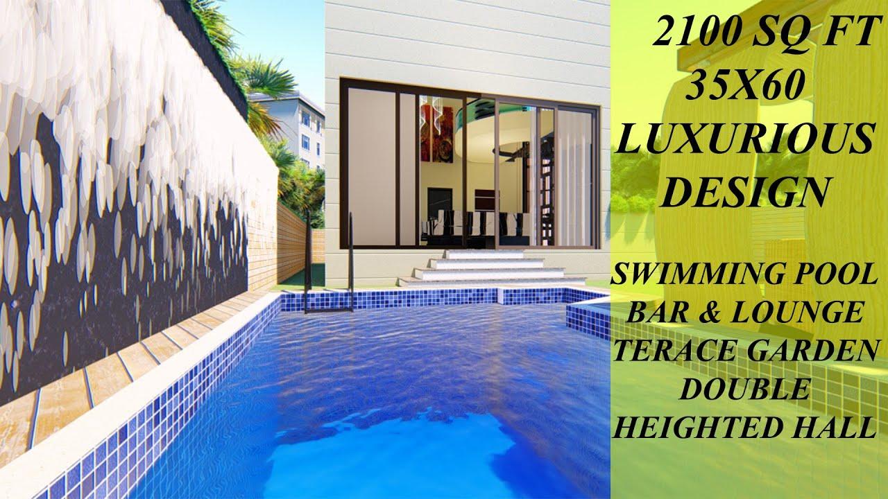 35X60 Feet   2100 SQFT House Design with Swimming Pool   House Interior Idea