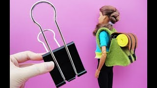 DIY Barbie Hacks & Craft - 5 Binder Clip Camping Bag Mini Handbag