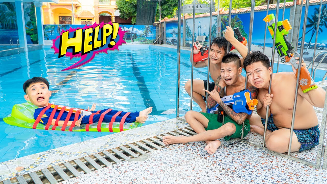 Blue Police WAKES UP IN SWIMMING POOL Nerf Gun Fight Criminal ESCAPE UNDERWATER PRISON | Action Nerf