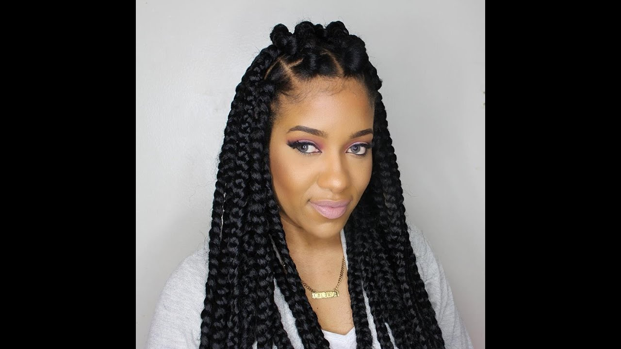 How To Jumbo Box Braids Rubberband Method Youtube