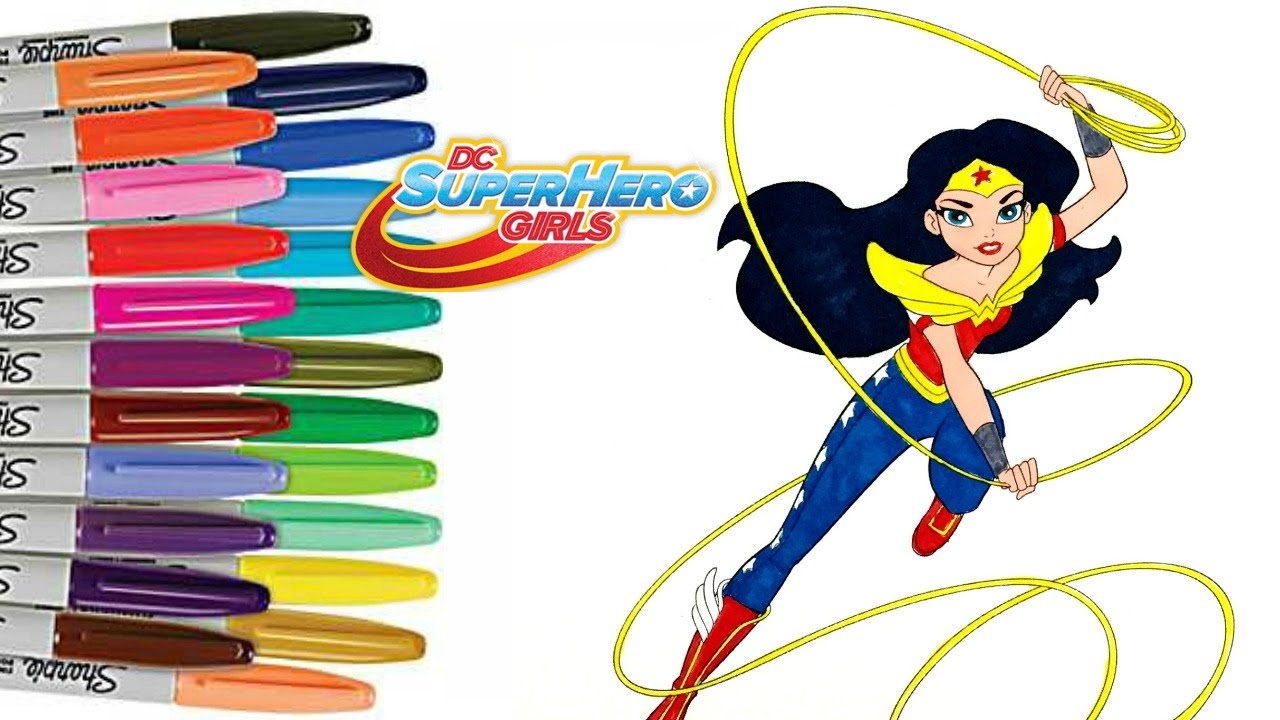 DC Superhero Girls WONDER WOMAN Coloring Book Page - YouTube