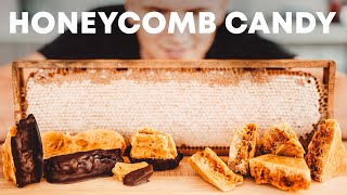 MAKING HONEYCOMB CANDY FROM REAL HONEYCOMB