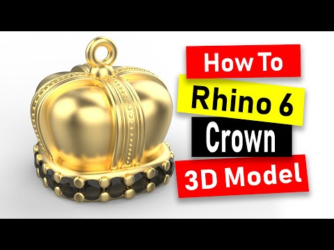 Crown Charm 3D Model in Rhino 6: Jewelry CAD Design Tutorial #92 thumbnail
