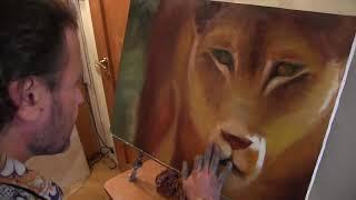 Курсы живописи для взрослых, научиться рисовать львицу, художник Сахаров 1