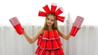 Polina hace elegantes vestidos de bricolaje