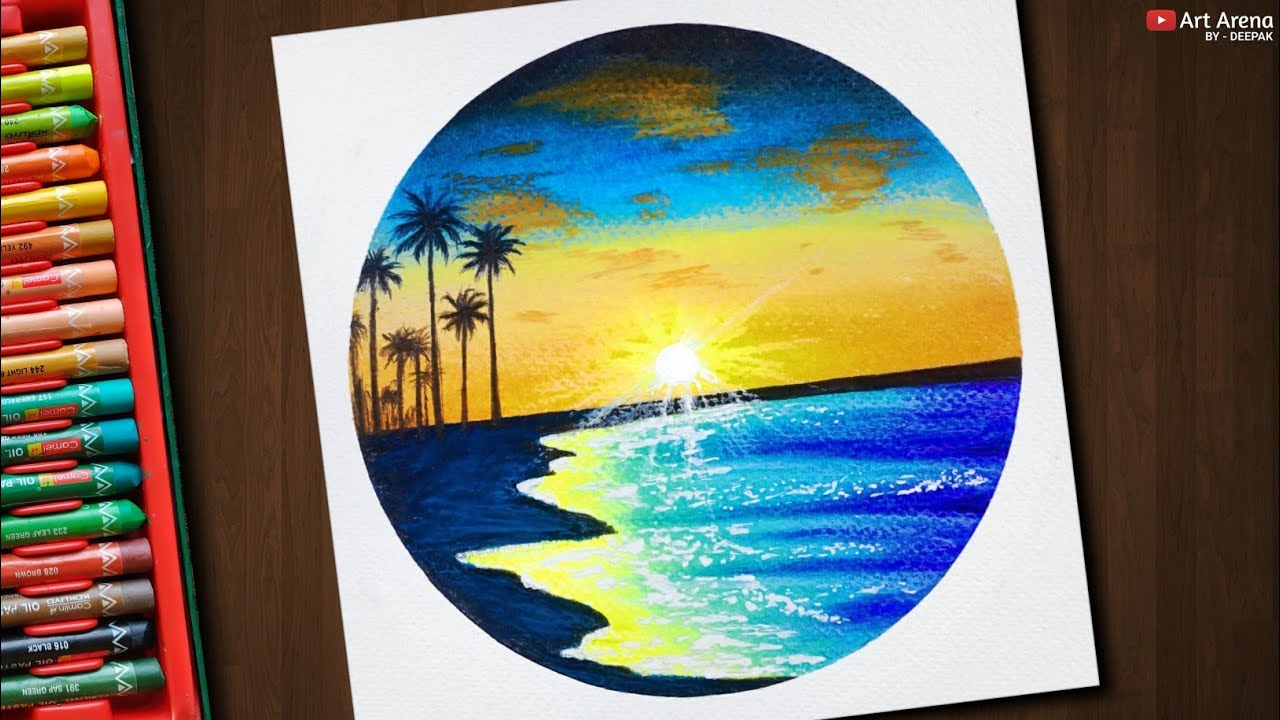 Glowing Beach Scenery / Drawing with Oil Pastels / Step by Step