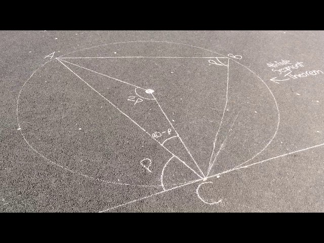 Maths circle theorems Alternate segment theorem
