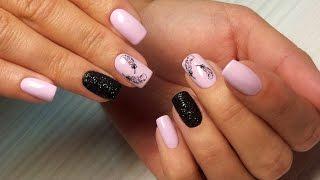 Дизайн ногтей гель-лак shellac - Слайдер дизайн + блестки (видео уроки дизайна ногтей)