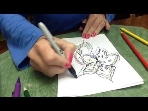 Рисуем    фломастером     цветик семицветик