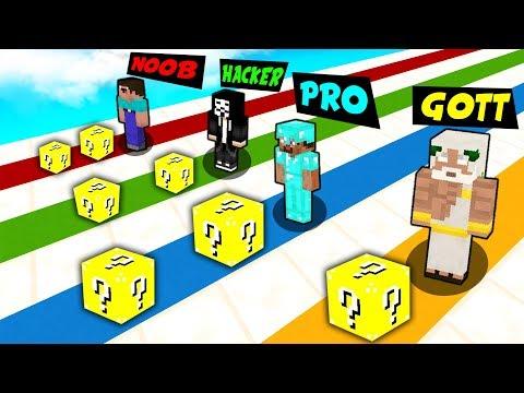 Minecraft NOOB vs. PRO vs. HACKER vs. GOTT: OP LUCKY RACE challenge in Minecraft thumbnail