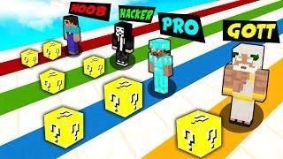 Minecraft NOOB vs. PRO vs. HACKER vs. GOTT: OP LUCKY RACE challenge in Minecraft