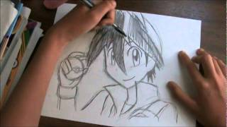 How to draw Red from Pokemon Special