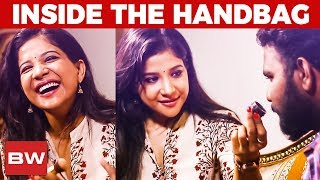 Kaala Actress Sakshi Agarwal's Handbag | Chocolate Lip Balm to Panda Purse