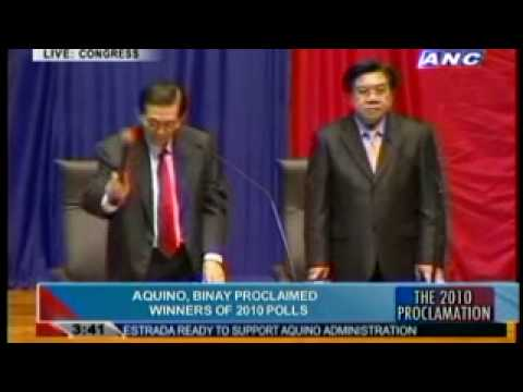 Noynoy Aquino and Jejomar Binay Proclamation June 09, 2010 Part 1/2 President Vice Elect