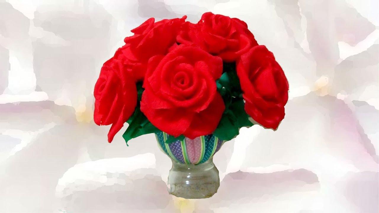 Manualidades Rosas Hermosas De Papel Y Cintas
