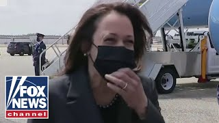 'The Five' rips Kamala Harris 'awkward laughing' during border question