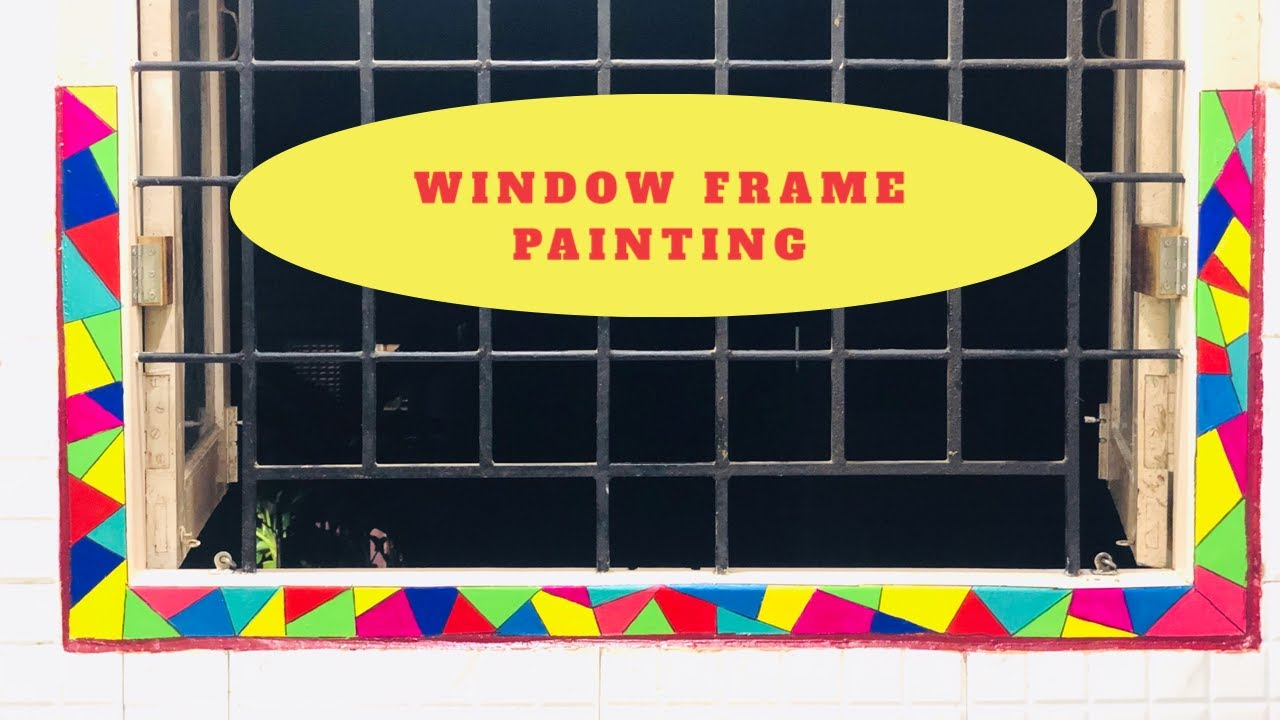 Window Frame Painting Window Makeover Ideas Abstract Geometric Shapes Painting Windowsmakeover Youtube