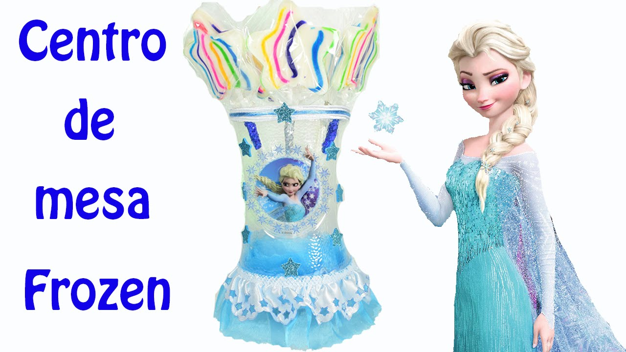 Frozen centro de mesa con botellas de plastico el mundo - Mesas para ninos de plastico ...
