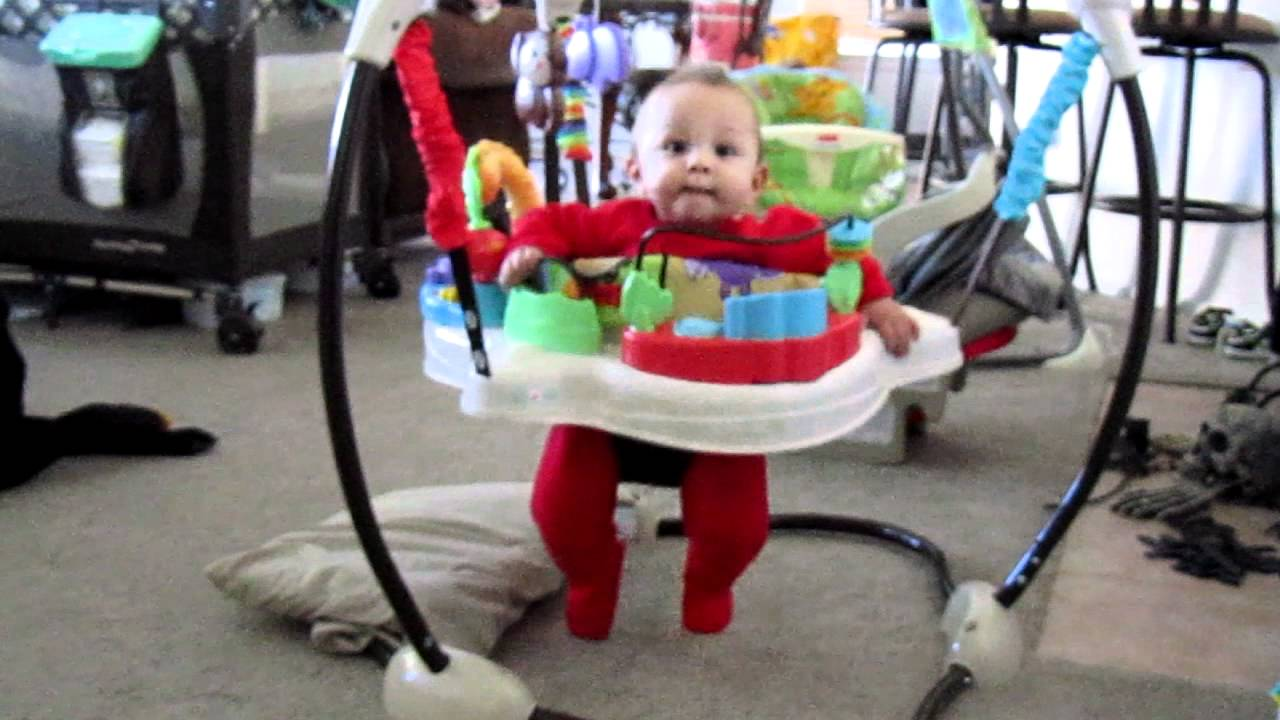 Cohen loves his jumperoo more and more! (6 months) Fisher price Luv u zoo Jumperoo - YouTube