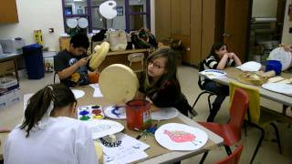300 Drums Project:  4th Graders Prepare to Paint on Their Native American Drums