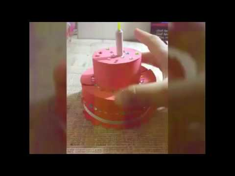 how to make paper cake for explosion box ||Tutorial open cake explosion box
