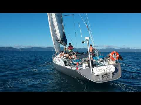 Sailing Maxi Yacht British Defender in the Whitsundays, DJI drone footage