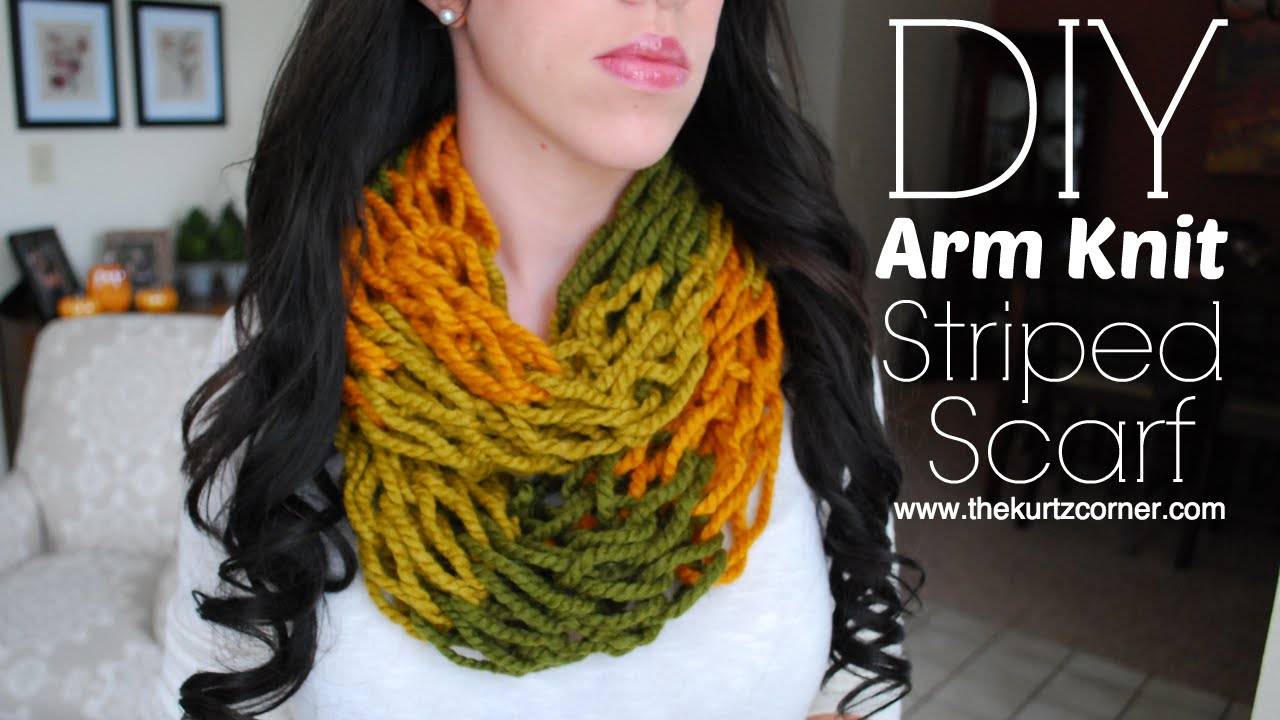 Arm Knitting Step By Step : Diy arm knitting minute striped infinity scarf youtube