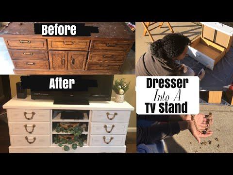 DRESSER INTO A TV STAND | TRASH TO TREASURE | DIY DISTRESS FURNITURE