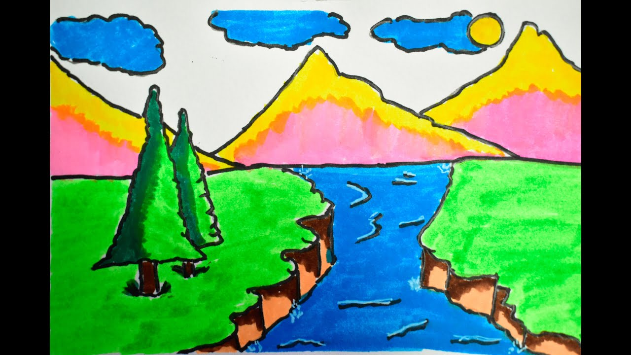 How to draw scenery of mountain and lake drawing for kids ...