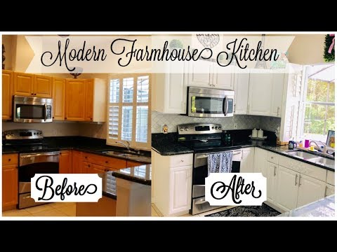 Modern Farmhouse Kitchen Tour 2019 | Before + After Makeover * Marble Backsplash, White Cabinets