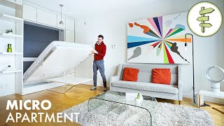 280 ft² Minimalist Micro Apartment Tour with Transforming Bed & Table