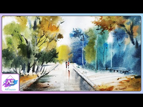 Simple watercolor landscape painting watercolor painting for beginners by Art Explain