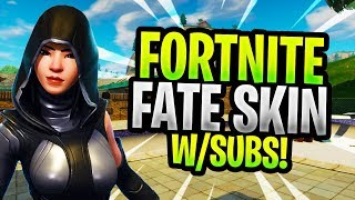 "NEW SKIN ""FATE"" Gameplay - FREE V bucks Giveaway at 3k Subs - (Fortnite Battle Royale)"