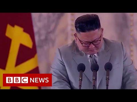 North Korean leader Kim Jong-un gets emotional during speech - BBC News