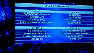 32 groups draw results UCL 2016/17
