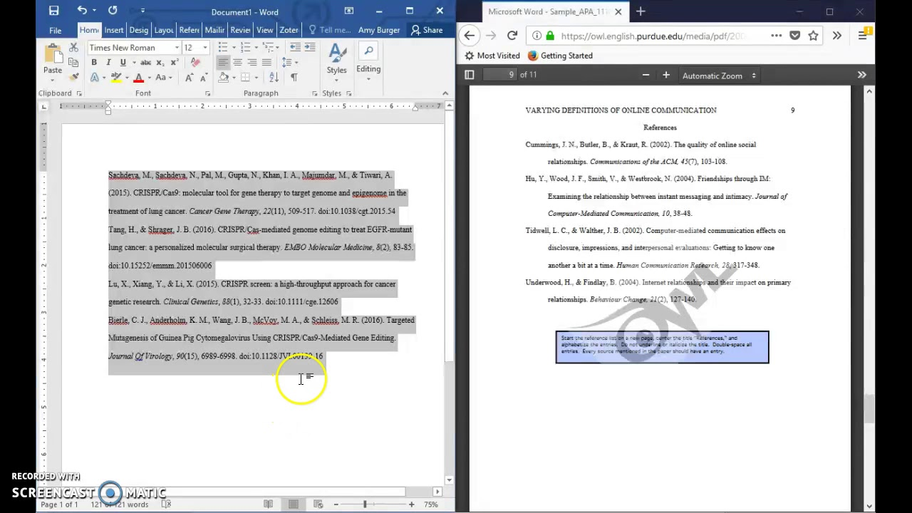 formatting a references page in apa 6th edition format
