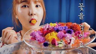꽃을 먹어요(feat.벌집꿀)|ASMR|Flowers Eating Sounds|식용꽃 리뷰