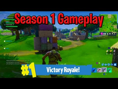 MY VERY FIRST VICTORY ROYALE IN FORTNITE SEASON 1 | Old Fortnite Map And OG Default Skins