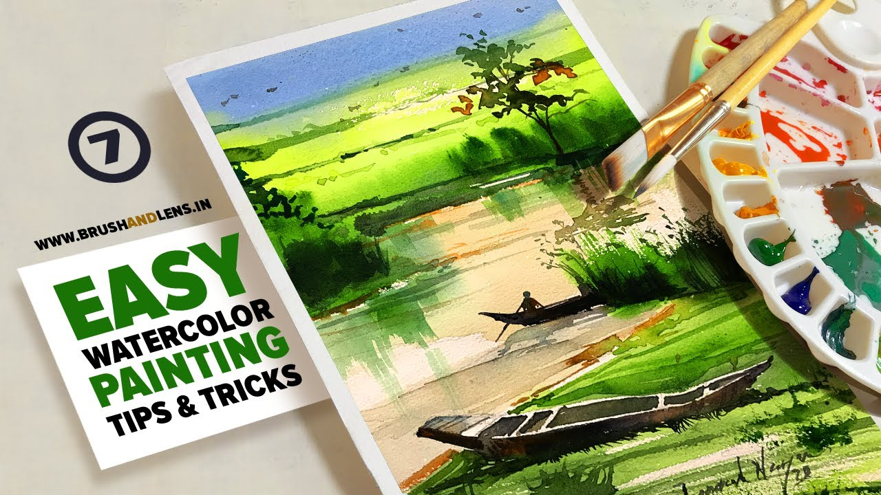 #7 Easy Watercolor Painting tips and tricks for a simple landscape  by Jagadeesh Narayanan