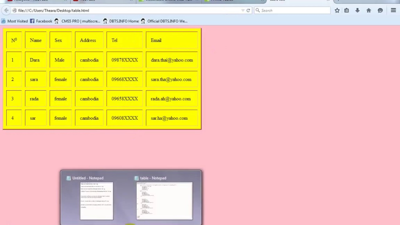 How to create table in html by notepad youtube - Html code for creating table ...