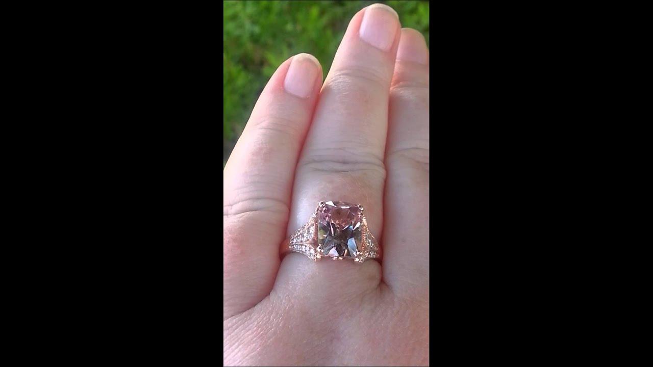 3 5 Carat Peachy Pink Cushion Spinel in Rose Gold Iris Diamond Engagement Rin