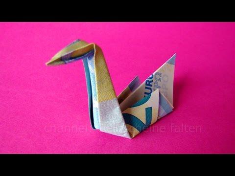 Papercraft Geldschein falten Schwan: Ideen zum Geldgeschenke basteln - Origami Tier falten mit Geld
